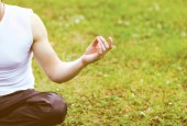 Closeup hands yoga man — Stock Photo