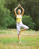 Sport, fitness, yoga - concept, woman doing exercise, harmony — ストック写真