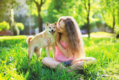 Dog and owner summer — Stock Photo