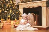 Christmas, celebration, holiday, xmas concept - happy cute child — Stock Photo