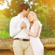 Romantic lovely young couple in love outdoors — Stock Photo #57095845