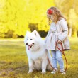 Lifestyle autumn photo, little girl and Samoyed dog walking in t — Stock Photo #57096205