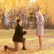 Love, couple, relationship and engagement concept - kneeled man — Stock Photo #57097117