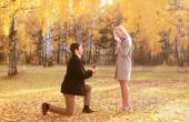Love, couple, relationship and engagement concept - kneeled man  — Stock Photo
