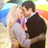 Autumn, love, relationships and people concept - sensual couple  — Stock Photo