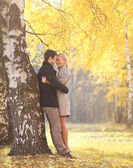 Autumn, love, relationships and people concept - happy young cou — Stock Photo