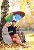 Autumn, love, relationships and people concept - lovely young co — Stock Photo