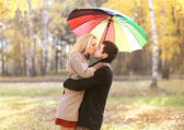 Love, relationship, engagement and people concept - happy kissin — Stock Photo