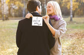 Love, relationships, engagement and wedding concept - man propos — Stock Photo