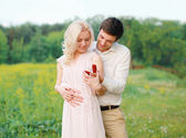 Love, relationships, wedding and couple concept - man proposing  — Foto Stock