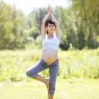 Pregnant pretty woman doing exercise in sunny summer day — Stock Photo #63130327