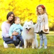 Family portrait, pretty young mother and children walks with dog — Stock Photo #63794391