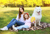 Family portrait, pretty young mother and child walks with dog ou — Stock Photo