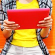 Female hands holding digital tablet pc, young woman using tablet — Stock Photo #81605934