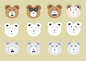 Big bear face set — Stock Vector