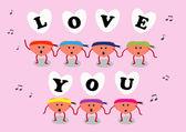 Тебя люблю петь сердце мультфильм — Cтоковый вектор
