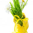 Green grass in a yellow shoe  — Stock Photo #52008885