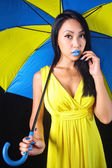Charming woman in yellow dress with a stylish umbrella — Stock Photo