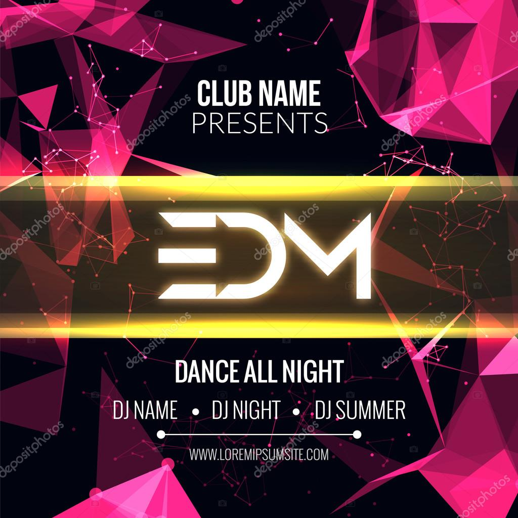 modern edm music party template dance party flyer