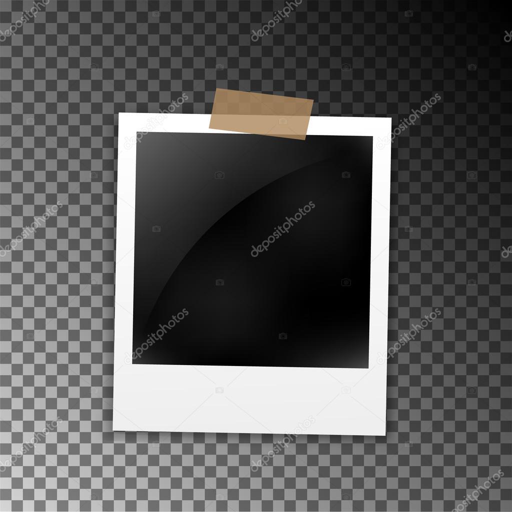 Photo frame polaroid template on transparent grid Isolated – Polaroid Template