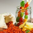 The composition of a mixture of dried fruit and goji berries — Stock Photo #65588437