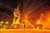 Amazing fire show at night — Stock Photo