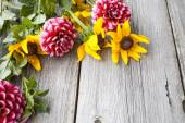 Freshly cut asters and rudbeckia on wooden background — Stock Photo