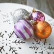 Christmas decoration on wooden table (vintage color toned image) — Stock Photo #58648943