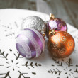 Christmas decoration on wooden table (vintage color toned image) — Stock Photo #58648953