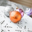 Christmas decoration on wooden table (vintage color toned image) — Stock Photo #58648957