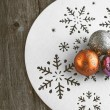 Christmas decoration on wooden table (vintage color toned image) — Stock Photo #58649053