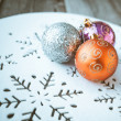 Christmas decoration on wooden table (vintage color toned image) — Stock Photo #58649079
