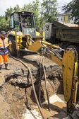 The production of excavation works for the elimination of leakag — Stock Photo