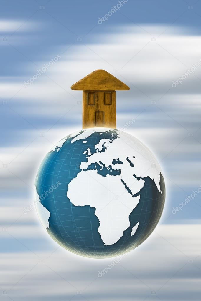 La terra la nostra casa concetto con l 39 immagine della for Aprire i piani casa artigiano concetto