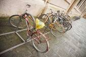 Bikes Parked in the Street — Stock Photo