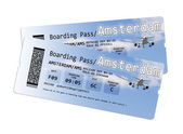 Airline boarding pass tickets to Amstersam — Stock Photo
