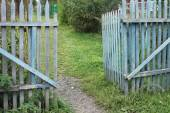A blue old ragged gate to a dacha garden in a village with ground and grass and trees — Stock Photo