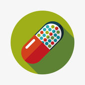 Pills flat icon with long shadow — Stock Vector