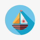 Sailboat flat icon with long shadow,eps10 — Stock Vector