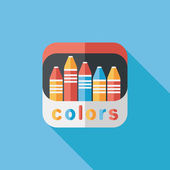 Crayons flat icon with long shadow,eps10 — Stockvektor