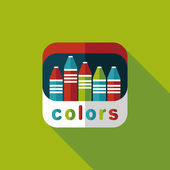 Crayons flat icon with long shadow,eps10 — Vetorial Stock