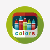 Crayons flat icon with long shadow,eps10 — Vecteur