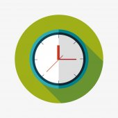 Clock flat icon with long shadow,eps10 — Vetor de Stock