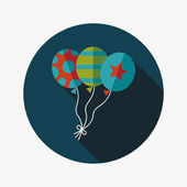 Balloons flat icon with long shadow,eps10 — Vector de stock