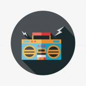 Ghetto blaster audio flat icon with long shadow,eps10 — Stock Vector