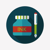 Pen and  ink bottle flat icon with long shadow,eps10 — 图库矢量图片