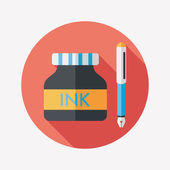 Pen and  ink bottle flat icon with long shadow,eps10 — Stock Vector