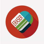 Eraser flat icon with long shadow,eps10 — Vetorial Stock