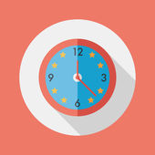 Clock flat icon with long shadow,eps10 — Stockvektor