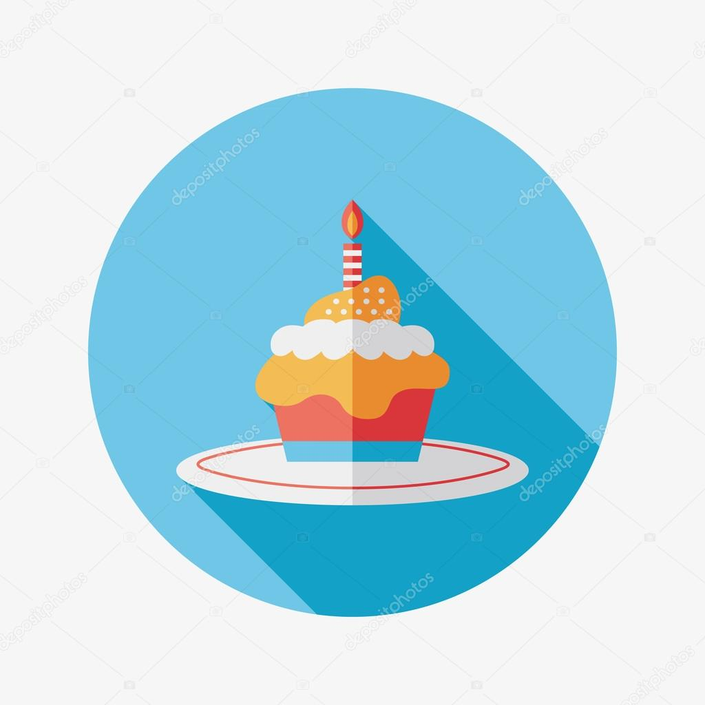 Birthday cake flat icon with long shadow,eps10 — Stock Vector ...